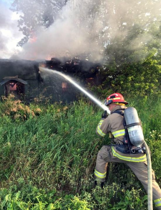 Brampton fire crews battle an outdoor shed fire. (Brampton Fire / Twitter)