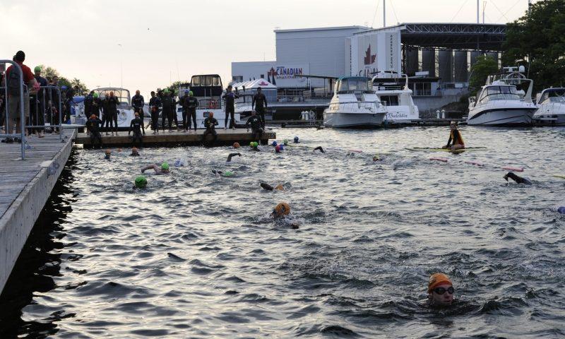 The swimming portion of the Toronto Triathlon Festival. Photo credit: torontotriathlonfestival.com