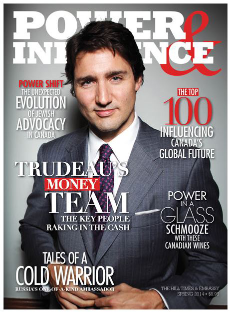 Cover photo of Liberal leader Justin Trudeau in the 2014 edition of Power & Influence magazine.