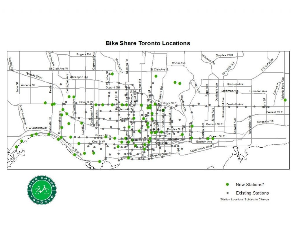 A map of current and existing Bike Share Toronto locations, Image Credit; TWITTER/BikeShareTO