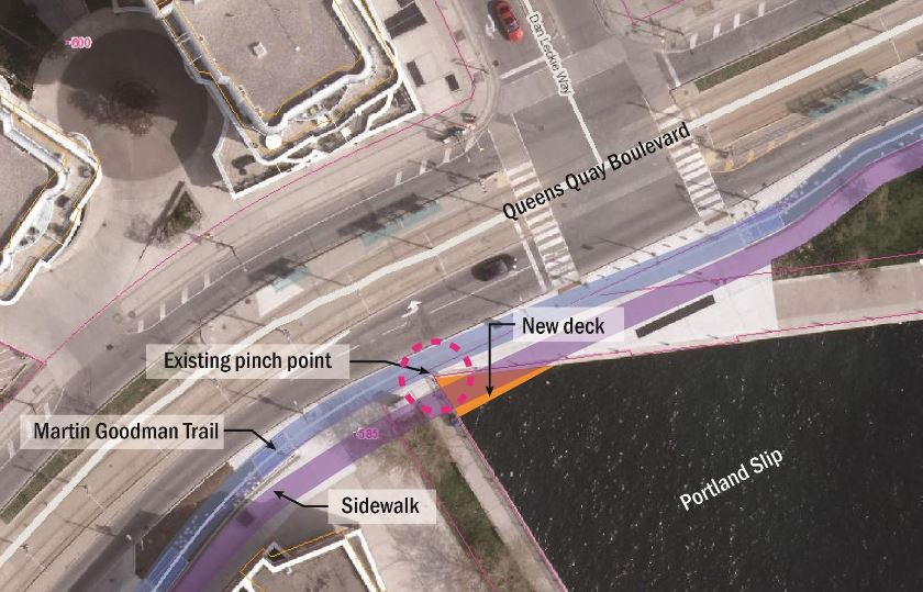 A sketch of a new pedestrian deck to be built at the Portland Slip, allowing for a continuous bike path in the area. Construction begins on Aug. 21, 2017. HANDOUT/Waterfront Toronto