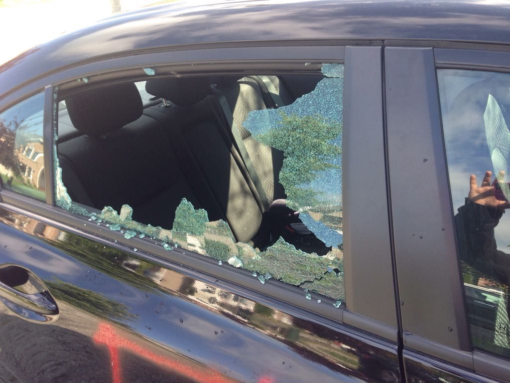 The side window of a Pickering woman's vehicle was smashed overnight in a possible hate crime, Aug. 18, 2017. CITYNEWS/Stella Acquisto