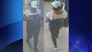 Police released security camera images of Virgil Jack on Sunday, Aug. 20, 2017. She was last seen wearing camouflage tights, a blue and white top and a green/turquoise ball cap. TORONTO POLICE