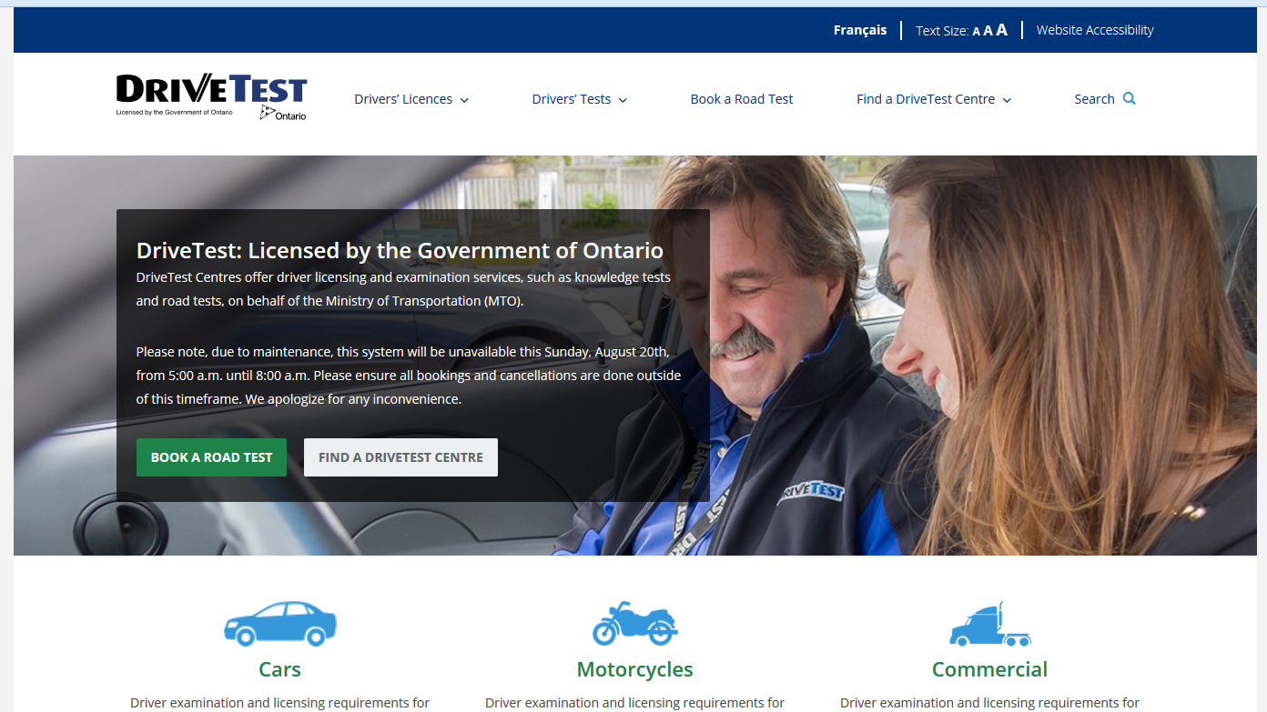 ontario drive test website