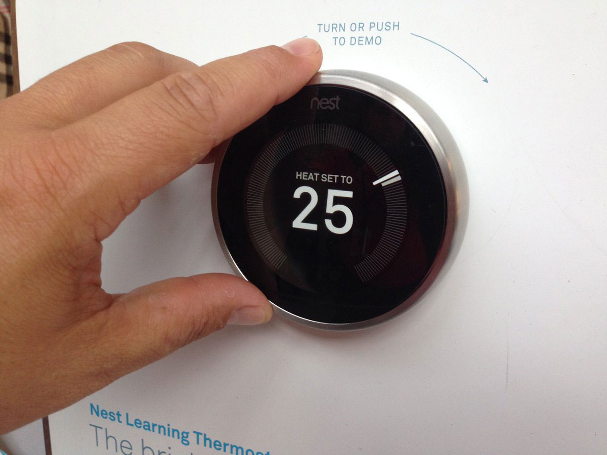 A smart thermostat on display at a Green Ontario Fund news conference at Artscape Wychwood Barns on Aug. 30, 2017. CITYNEWS/Tony Fera