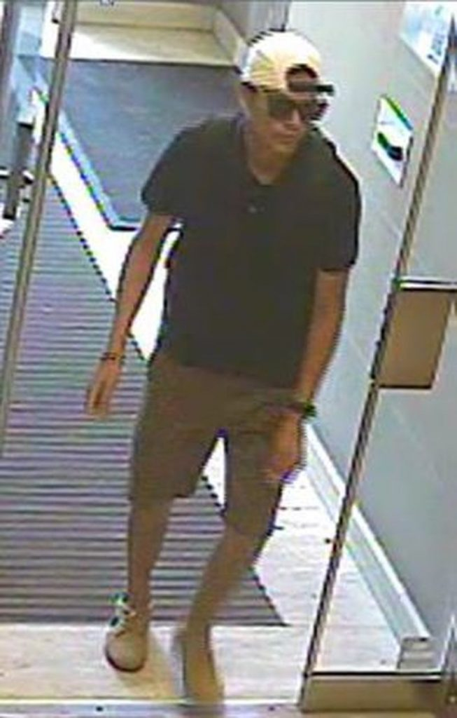 Robert Cropearedwolf, 38, is wanted in a series of break and enters near King and Duncan streets. Police released this security camera image on Oct. 12, 2017. HANDOUT/Toronto Police Service