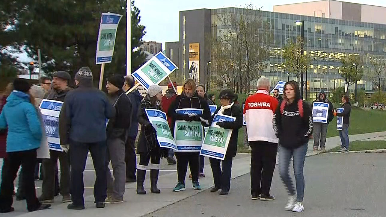 Striking workers at Humber College on Oct. 16, 2017. CITYNEWS