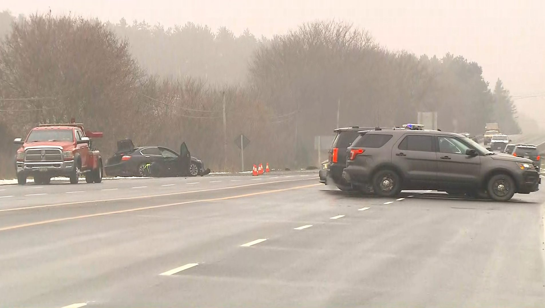 OPP investigate a fatal crash on Highway 48 near Davis Drive on Nov. 13, 2017. CITYNEWS