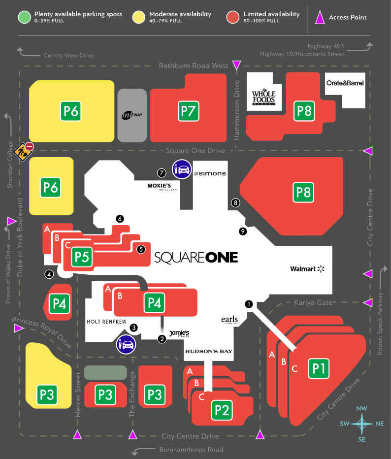 A real-time interactive map shows which lots have available parking at Square One. This image was captured on Nov. 24, 2017. Photo credit: Square One