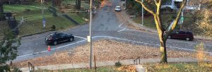 The intersection of Regal Road and Springmount Avenue redesgined with leaves and chalk outlines.