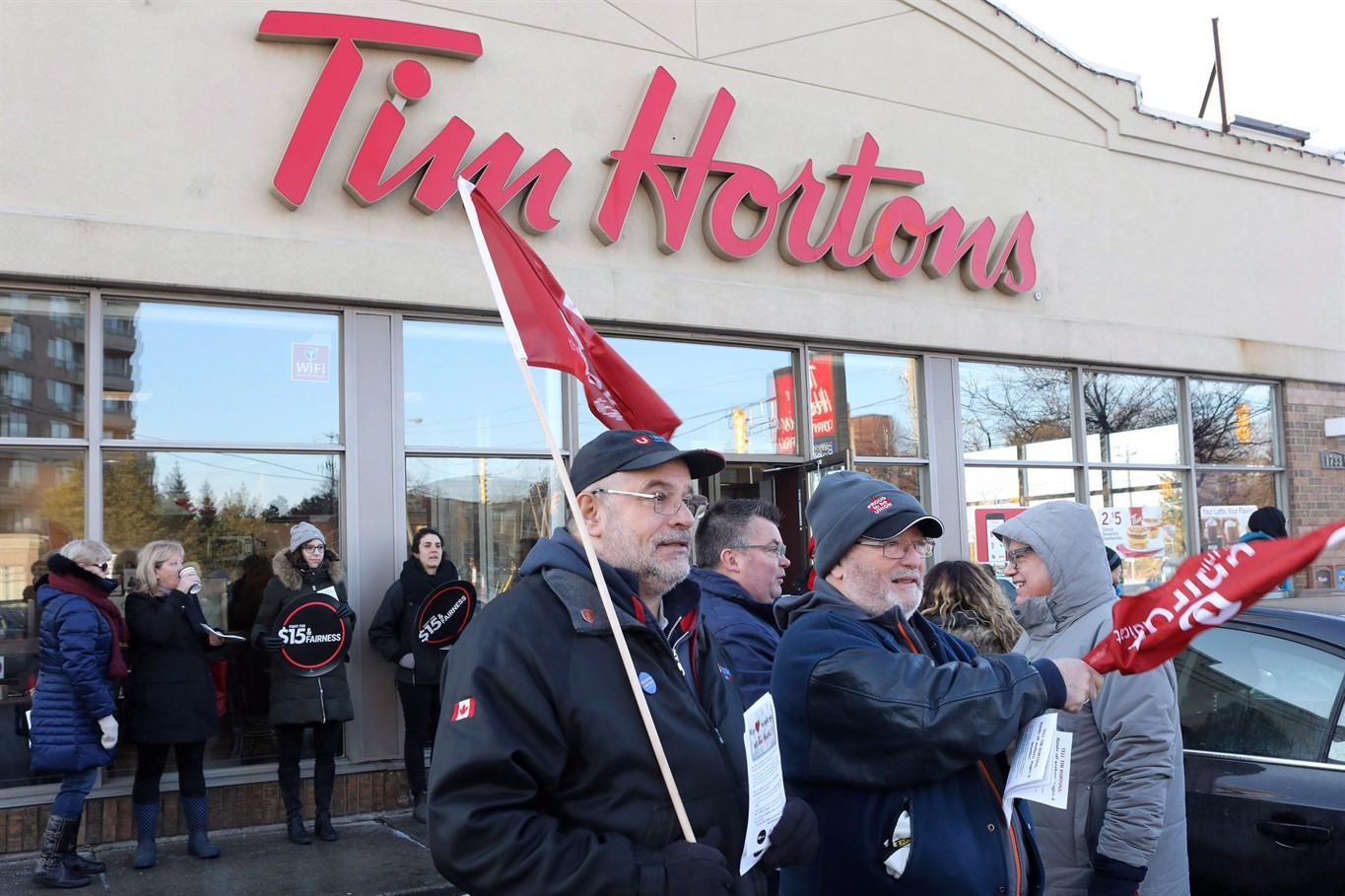 Tim Hortons protest at Broadview and Danforth one of 50 across Canada
