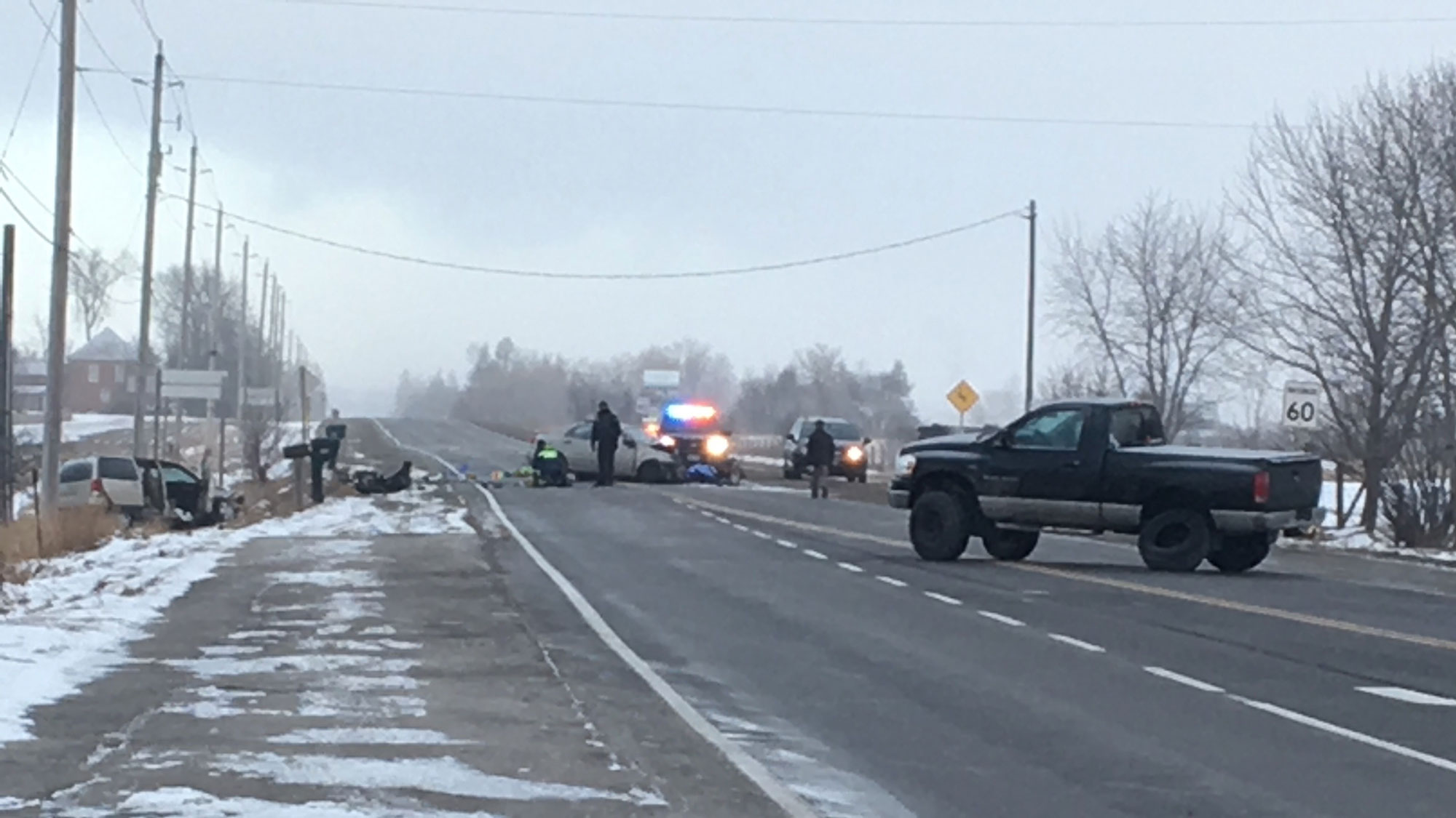 Three vehicles were involved in a crash at King and Airport roads in Caledon on Feb. 2, 2018. CITYNEWS/Bryan Carey