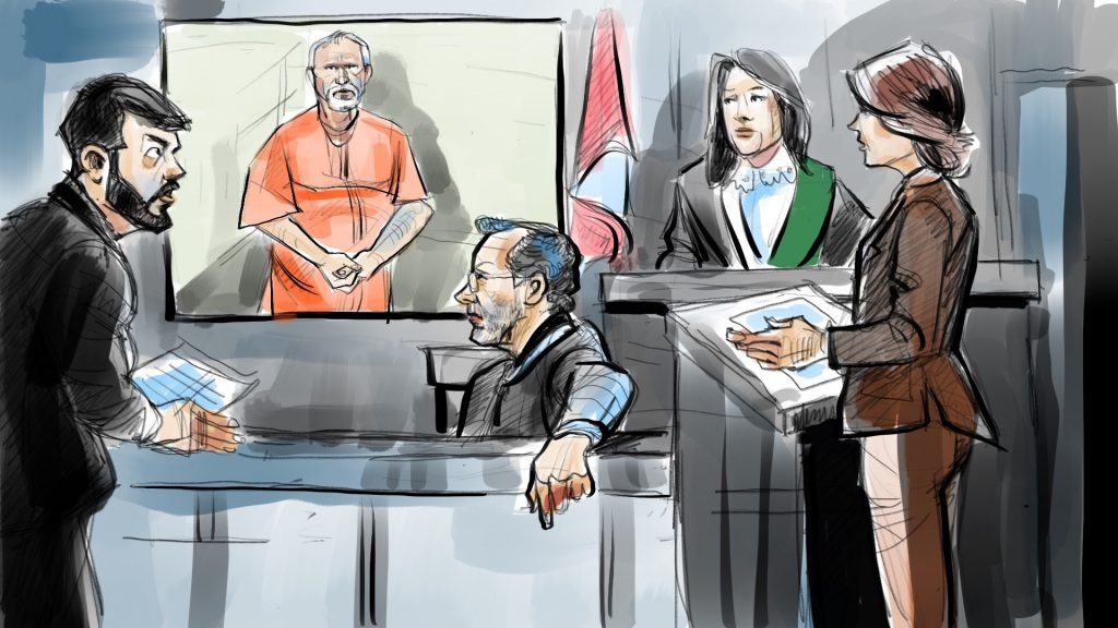 Bruce McArthur appears in court via video on Feb. 14, 2018. CITYNEWS/Marianne Boucher