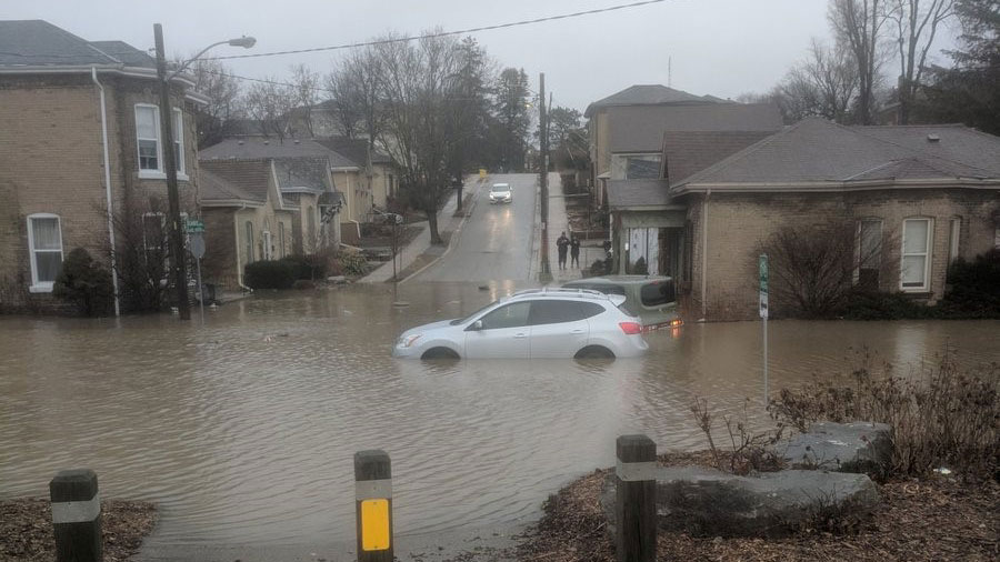 A street in Brantford Ont. is flooded on Feb. 21 2018