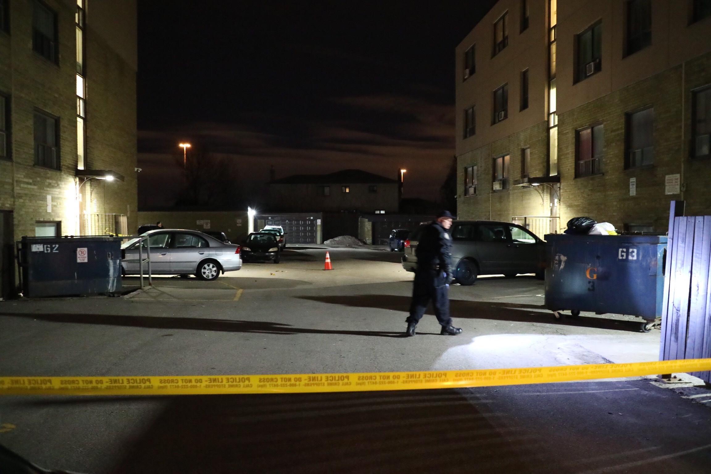 Police investigate after shots were fired in North York on Feb. 22, 2018. CITYNEWS/Josef Fazio