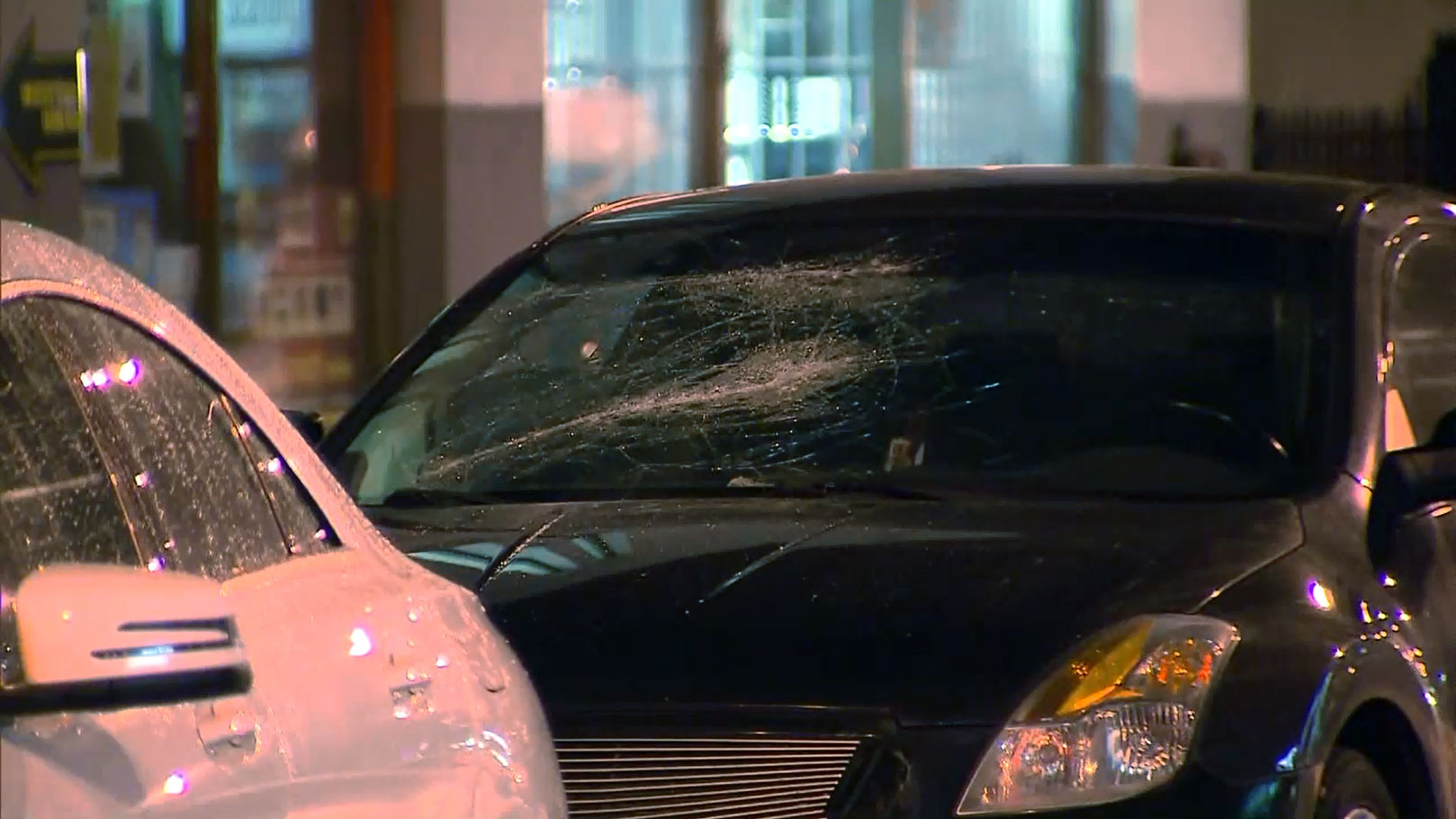 Damage is seen to a car after shots were fired and the windshield was smashed in Parkdale on Feb. 23, 2018. CITYNEWS