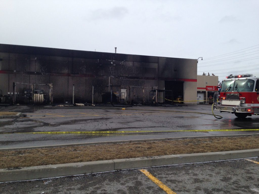No injuries were reported. & Massive fire outside Ajax Canadian Tire deemed suspicious
