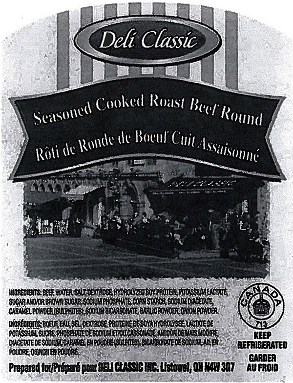 Erie Meat Products Ltd. recalled Deli Classic brand Seasoned Cooked Roast Beef on April 9, 2018. CFIA