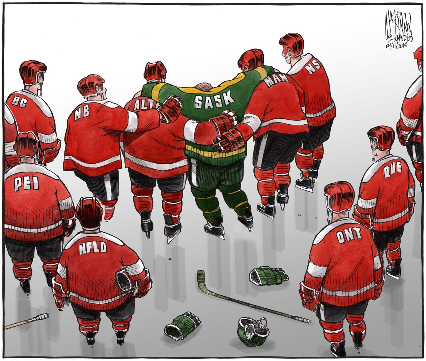 A cartoon recently published in the Halifax Chronicle Herald by cartoonist Bruce MacKinnon is shown in this handout image. HANDOUT/Bruce MacKinnon, Halifax Chronicle Herald, via The Canadian Press