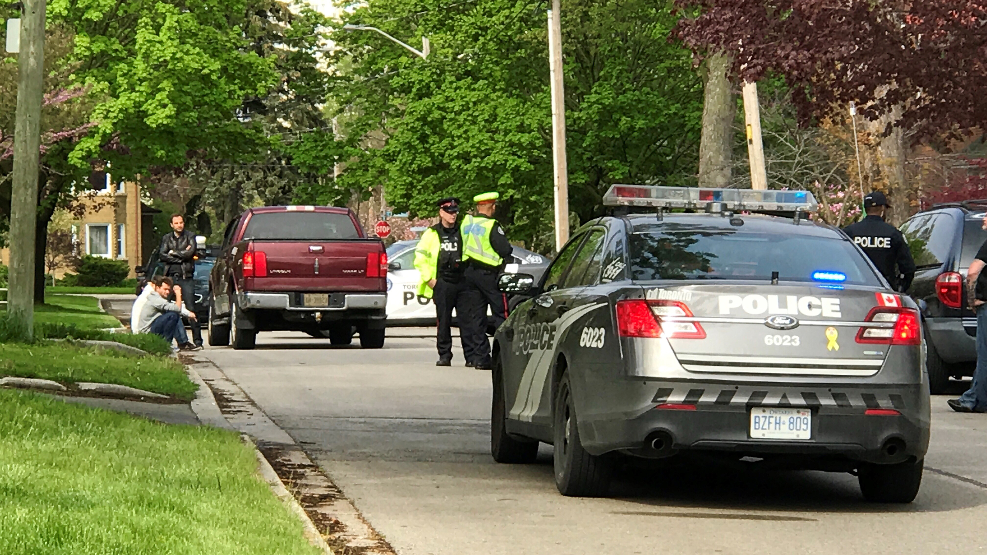 Police investigate after a boy was hit by a pickup truck on Stanley Avenue in Etobicoke on May 19, 2018. CITYNEWS/George Joseph