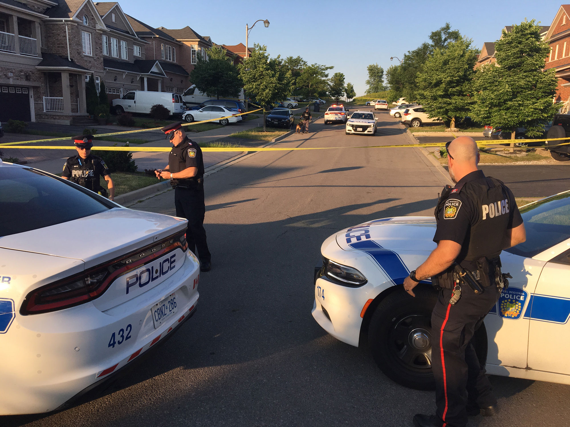 Peel police investigate a fatal shooting on Martree Crescent in Brampton on June 21, 2018. CITYNEWS/Mehrdad Nazarahari