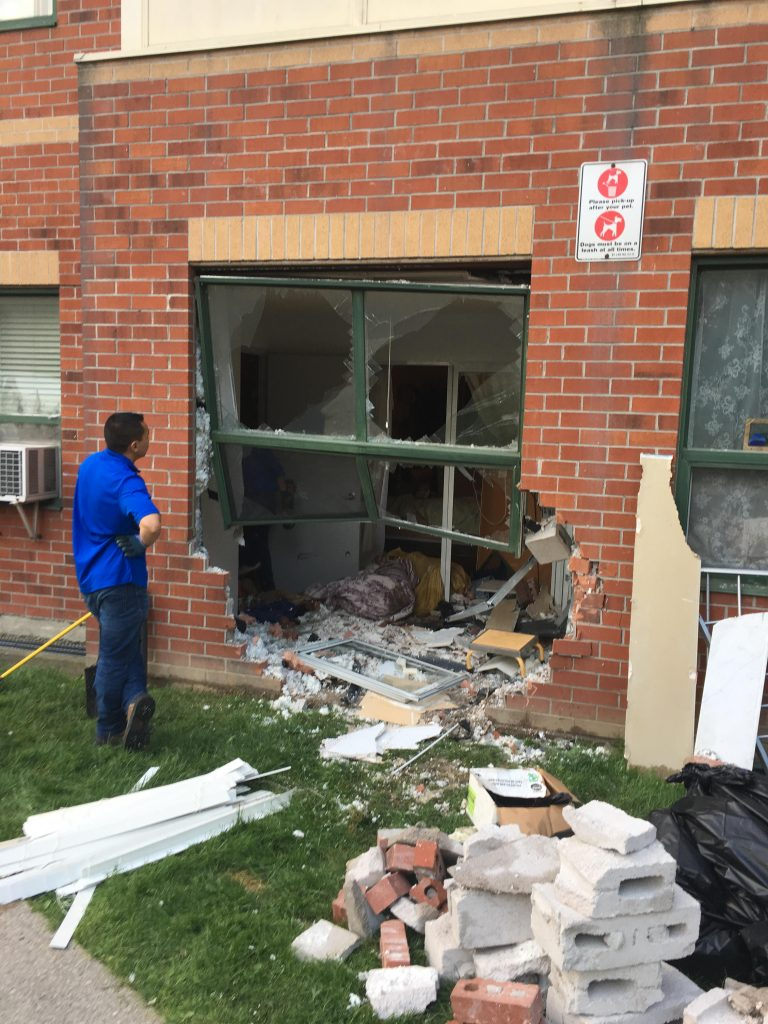 A 16-year-old boy is facing charges after it appears he lost control of his vehicle and crashed into an apartment building on Rankin Crescent in the Junction. No one was in the apartment that was hit by the vehicle. 680 NEWS/Carl Hanstke