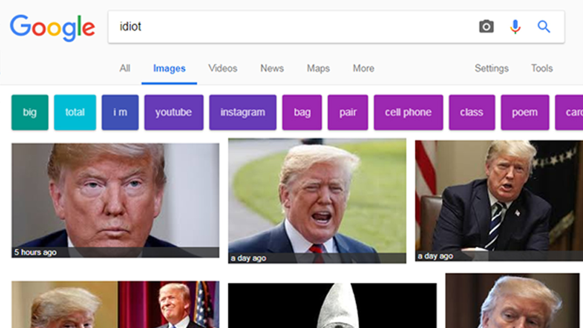 Trump tops Google image search for 'idiot'