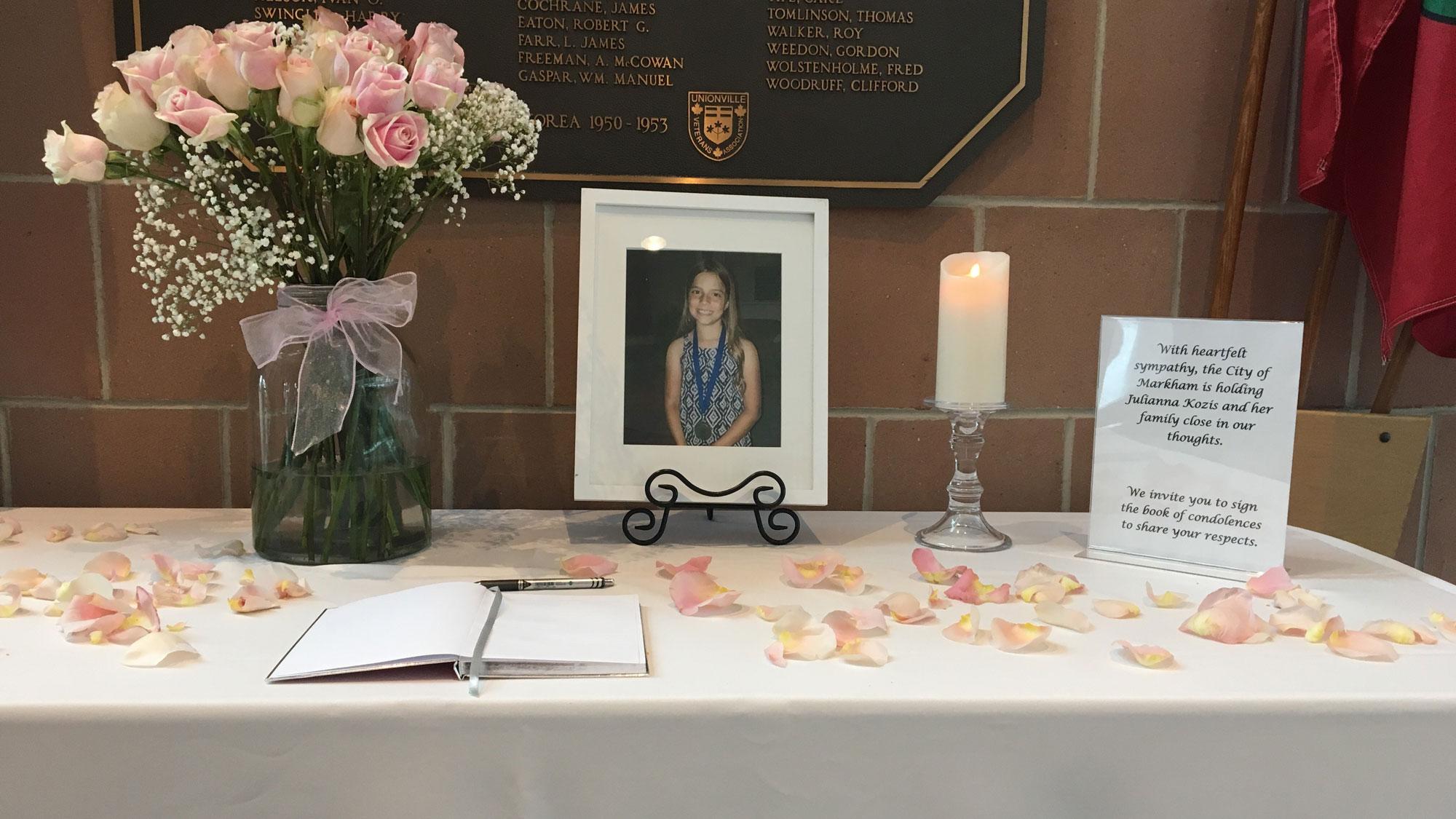 A book of condolence for 10-year-old Julianna Kozis at the Markham Civic Centre on July 25, 2018. CITYNEWS/Mehrdad Nazarahari
