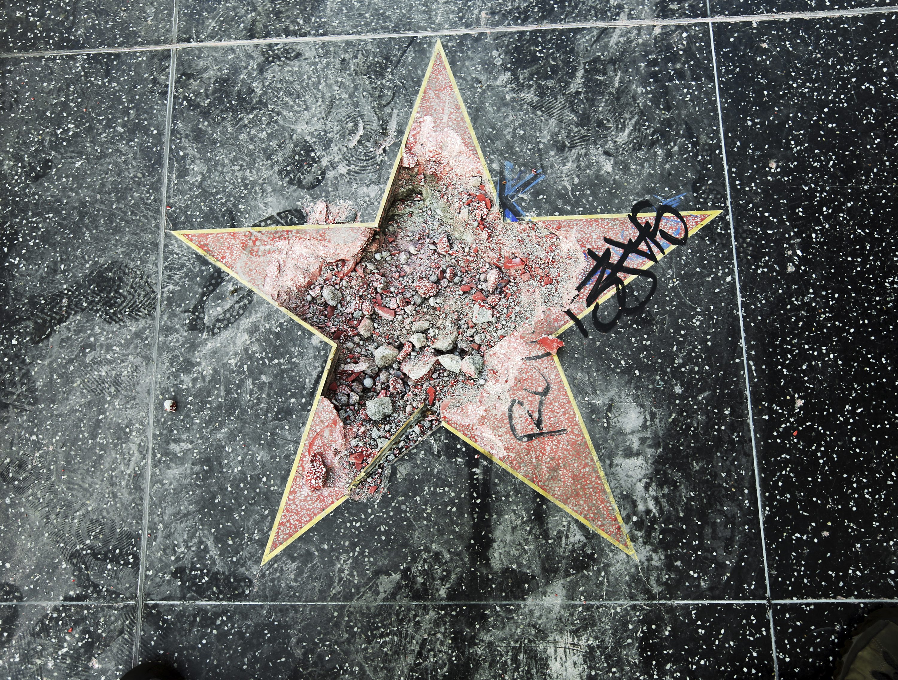 President Trump's star on Walk of Fame destroyed, again