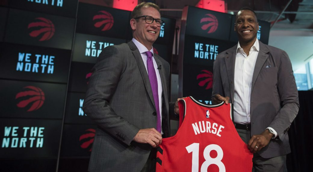 Nick Nurse, the new head coach of the Toronto Raptors, and team president Masai Ujiri. THE CANADIAN PRESS/Tijana Martin