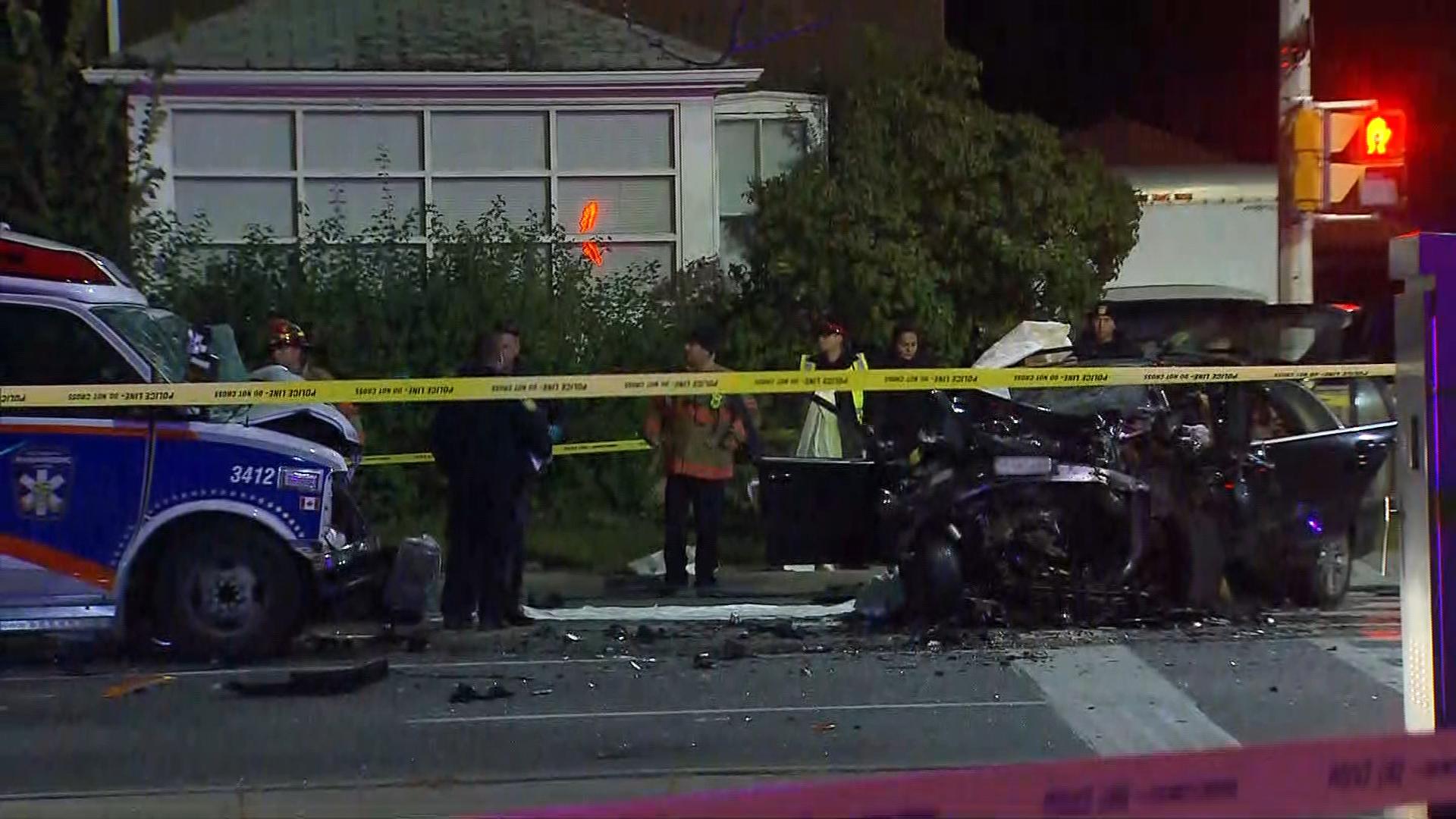 1 dead in 2-vehicle crash involving ambulance in brampton