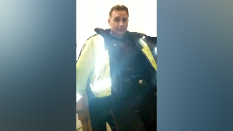 Const. Bernard Triaja is seen in a still from cellphone video in Mississauga on Nov. 18, 2018. HANDOUT