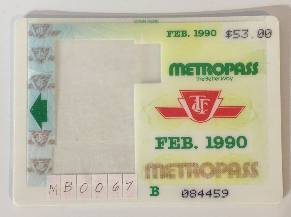 The Metropass in the '90s was big and plastic and had a slot for a required photograph. Photo: CityNews