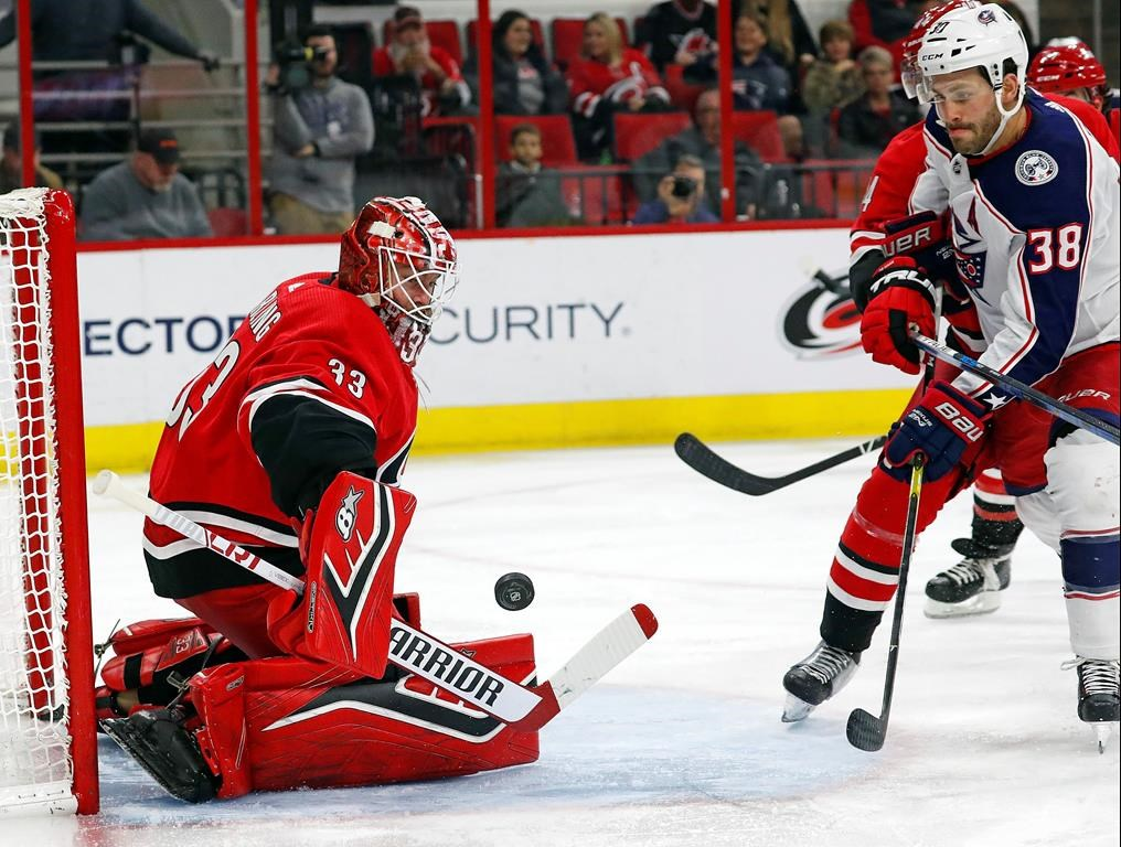 073338266 Atkinson s hat trick leads Blue Jackets past Hurricanes 4-1