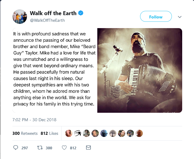 Keyboardist and vocalist of Walk Off the Earth, Mike Taylor, dies
