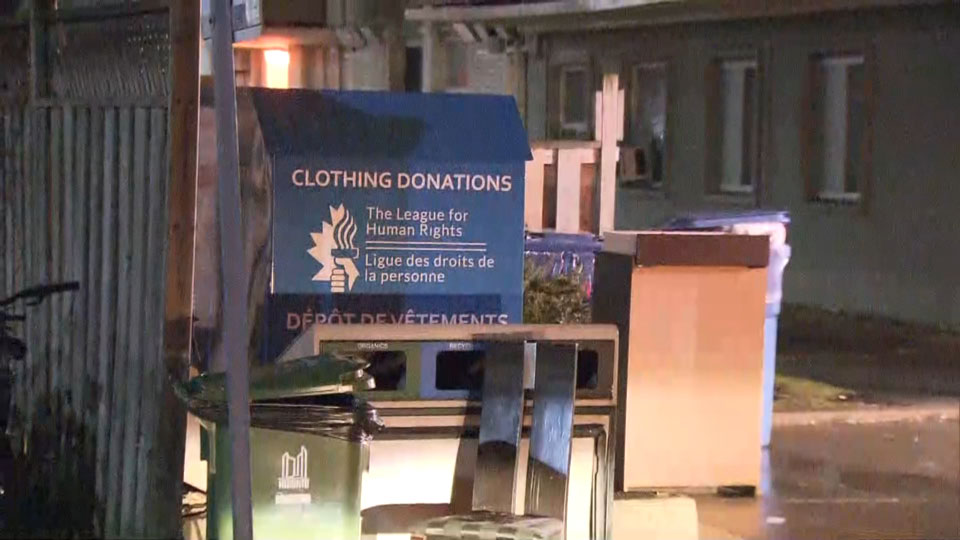 Toronto woman dies after being found partially inside a clothing donation bin