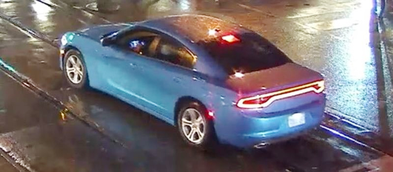 A blue 2019 Dodge Charger SXT wanted in connection with an assault on Queen Street West in Toronto on Jan. 1, 2019. HANDOUT/Toronto Police Service