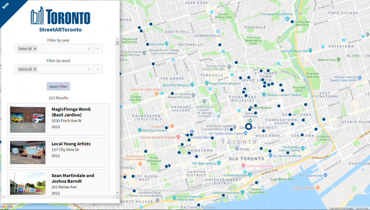 City Map Of Canada.City Of Toronto Launches Street Art Map For Locals And Visitors