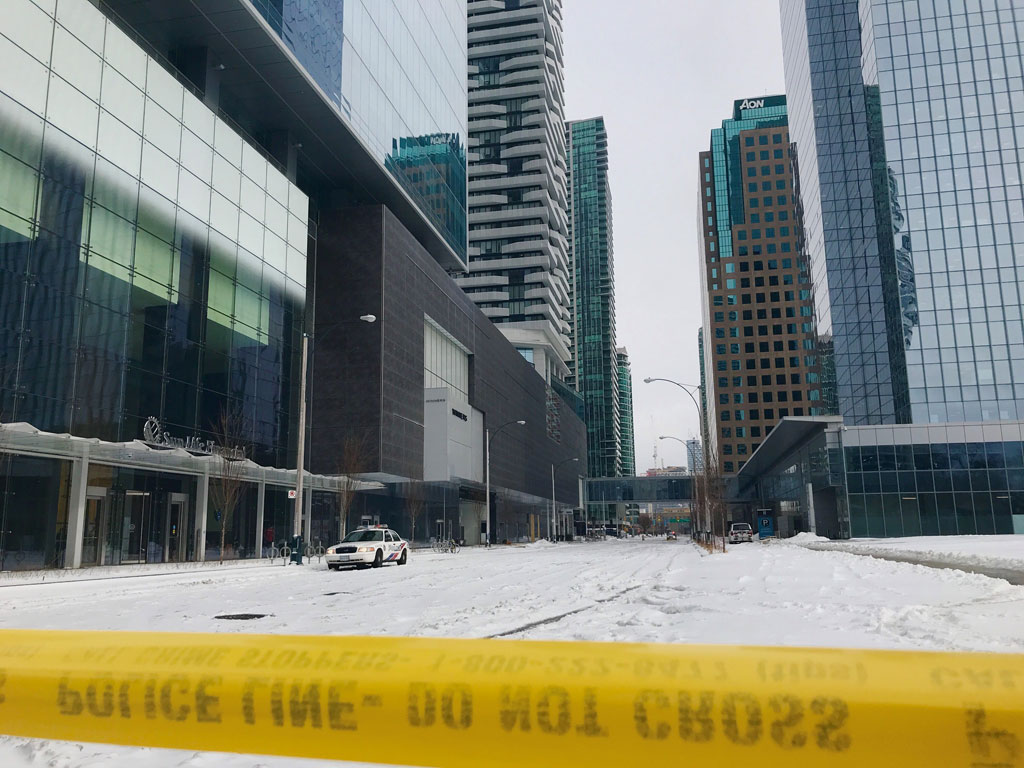 The area of York and Harbour streets was closed after glass fell from a building on Feb. 12, 2019. This photo was taken the next day. CITYNEWS/George Joseph