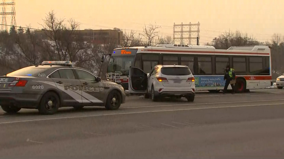 1 injured in crash involving SUV and 2 TTC buses