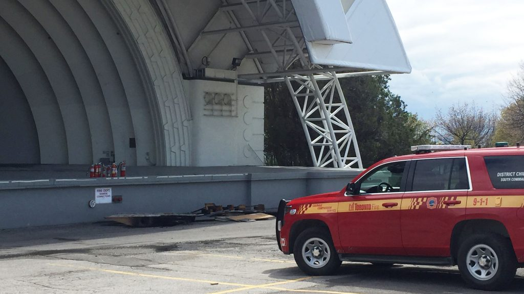Fire at CNE bandshell stage suspected to be arson