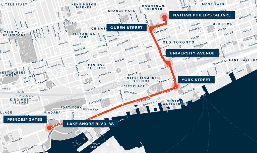 A map of the route for the Toronto Raptors parade on June 14, 2019.