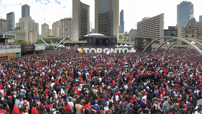 Thousands pack Nathan Phillips Square for the Raptors championship celebration