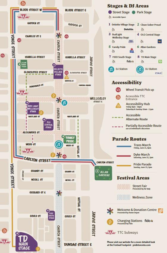 A screenshot of the Pride Toronto guide via pridetoronto.com.