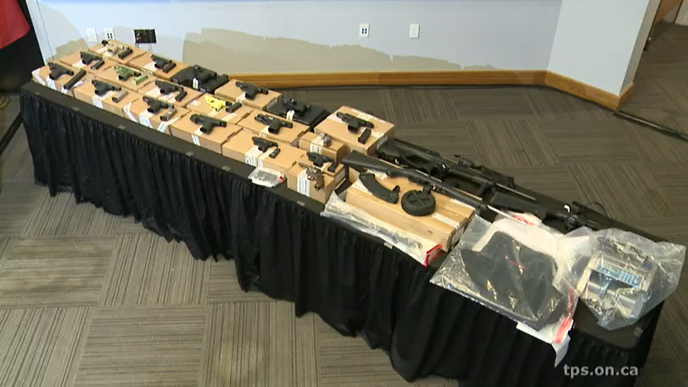 Toronto police display guns allegedly seized during a series of raids on June 17, 2019, as part of Project Kraken. HANDOUT/Toronto Police Service