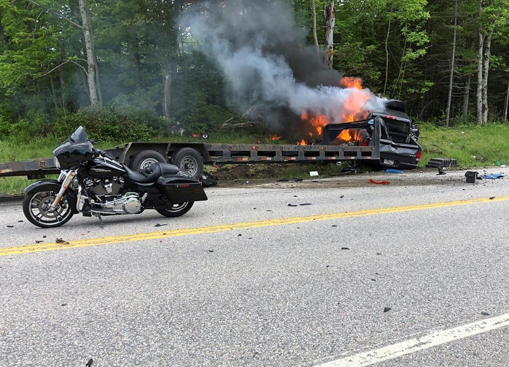 7 dead in motorcycle, pickup truck crash in New Hampshire