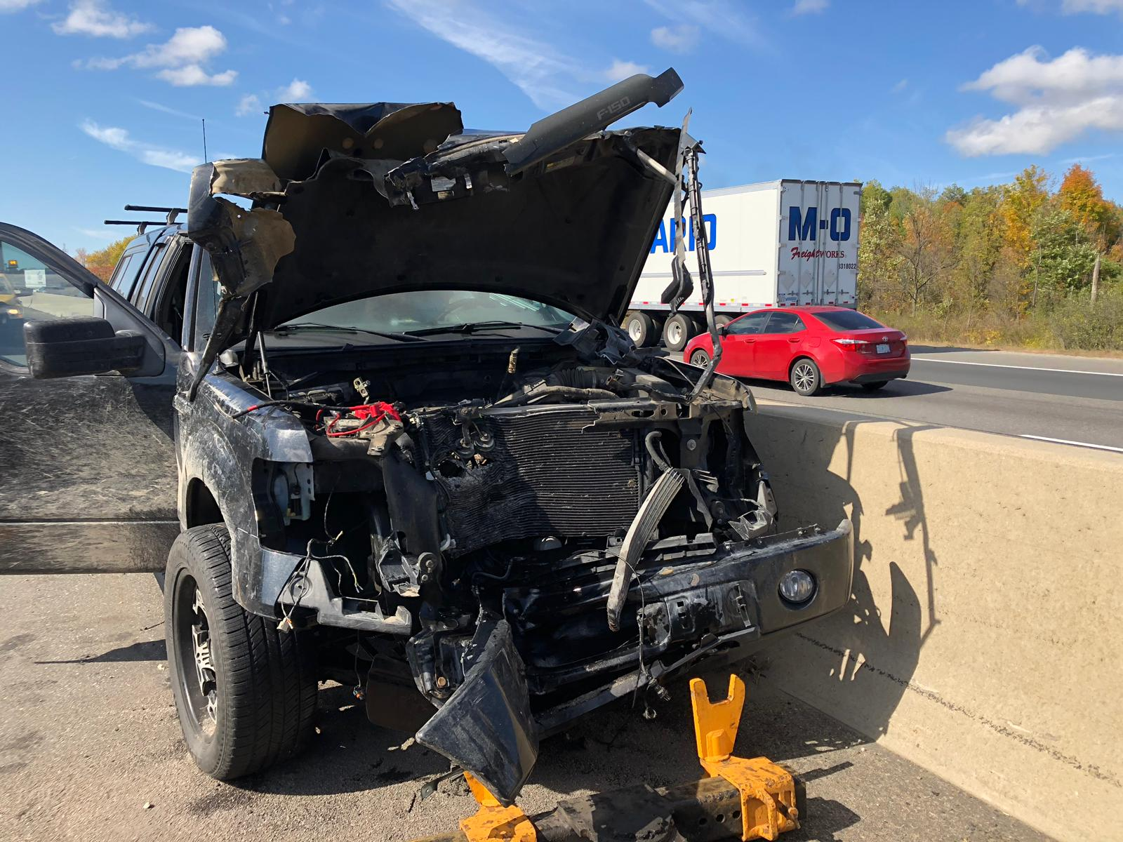 OPP looking for driver after wheels flew off transport truck and crashed into vehicle