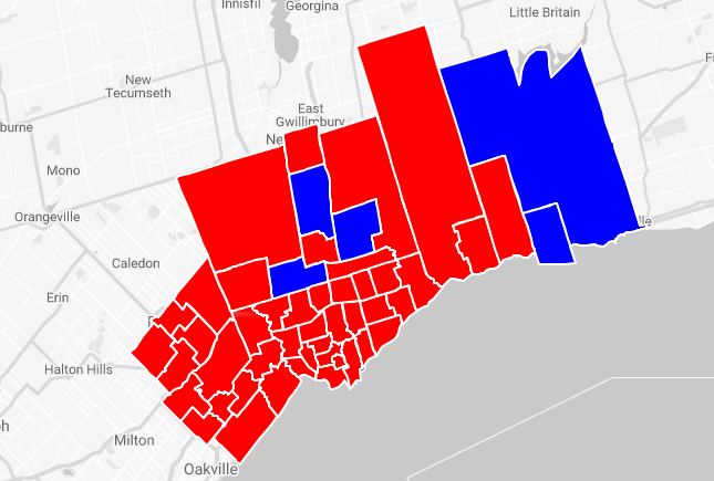 Federal election results: Who won in Toronto and the GTA? on canada politician map, canada demographics, canada politics, civil war america map, canada poverty map, canada mountain ranges map, canadian electoral map, canada history, canada home, idaho electoral map, canada flight map, us canadian map, canada population density map, canada elevation map, canada political party map, canada and united states map, archives of canada in map, canada voting map, canada government map, prince edward island map,