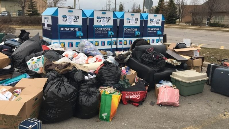 Donation dump: Diabetes Canada pens open letter with bins overflowing with trash - CityNews Toronto