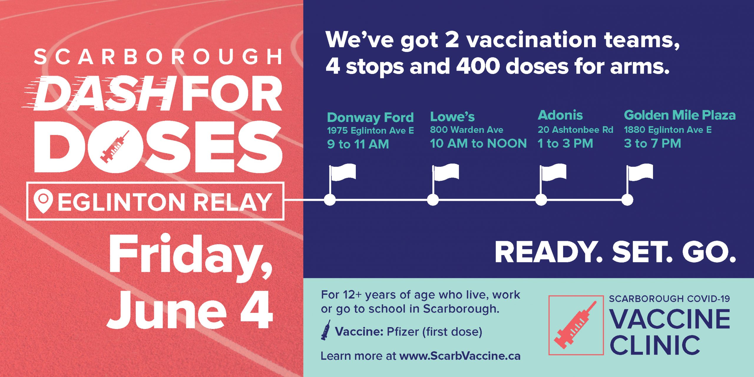 A special mobile clinic is making multiple stops in the Warden and Eglinton area on Friday, June 4, 2021.